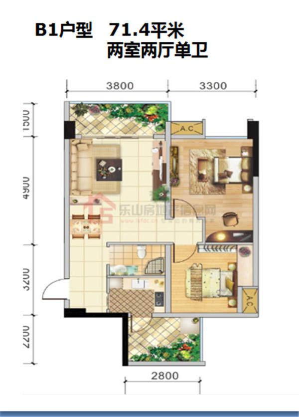 圣地蓝山B1-2室2厅1卫-71.4㎡