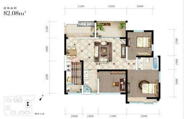 西湖香榭国际A2'-3室2厅1卫-82.08㎡