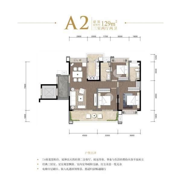 中心城棠颂府-A2户型-3室2厅2卫-129㎡