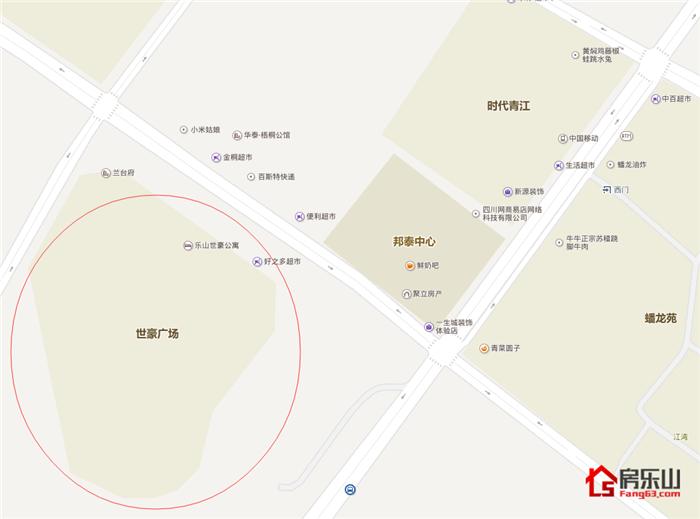 乐山世豪广场写字楼区位图