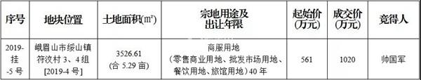 2019年4月3日成交公示,峨眉一商服用地成功出让