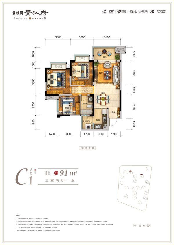 青江府C1户型图-3室2厅2卫-91㎡