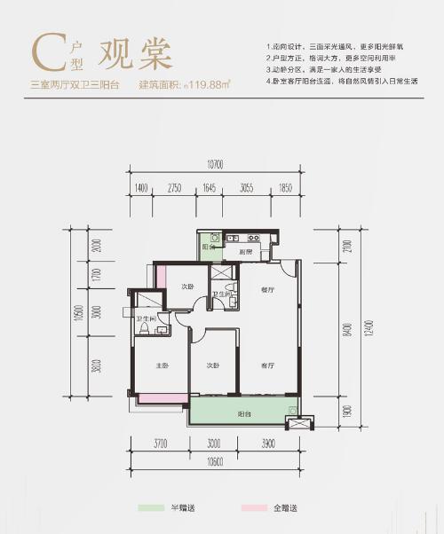 富力尚悦居C户型特价房 建面120.4㎡ 3 202