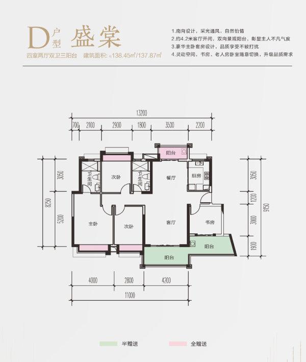 富力尚悦居1期清盘D户型 建面138.5㎡ 3 0304