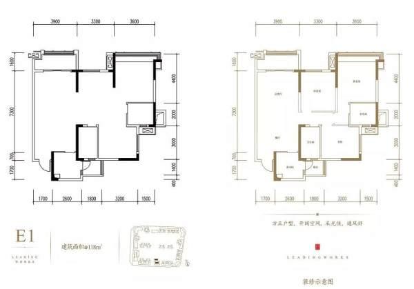 蘭台府清栋特价房E1户型 建面120.85㎡ 3 905