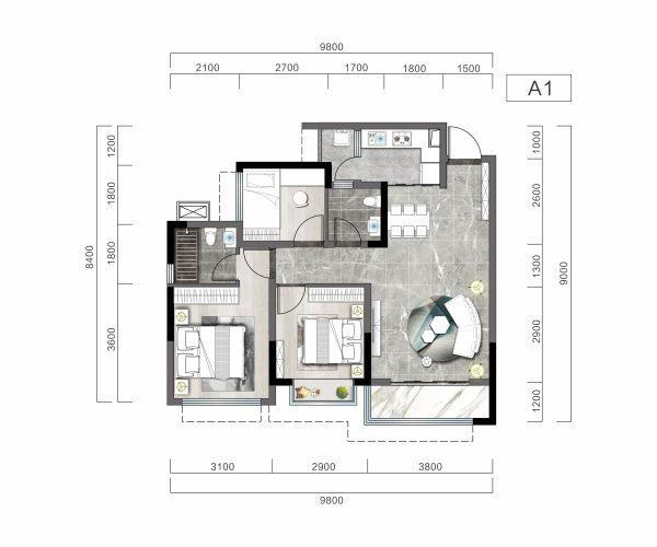 阳光玖著-A1-3室2厅2卫-85.53㎡