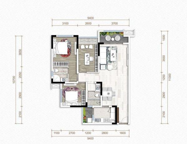 置信丽都花园-B1-3室2厅2卫-108.76㎡