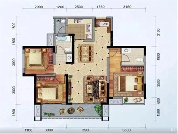 怡润茉莉庄园C3户型-3室2厅2卫-106.83㎡