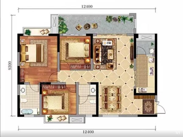 怡润茉莉庄园A1户型图-3室2厅2卫-118.79㎡