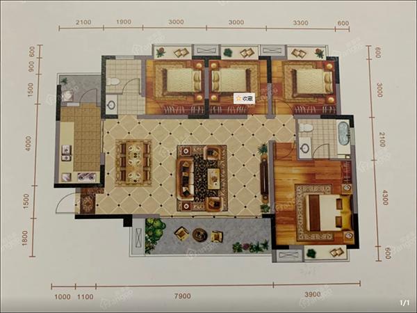 怡润茉莉庄园E1户型图-4室2厅2卫-136.2㎡