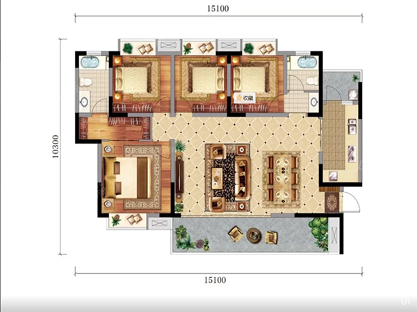 怡润茉莉庄园E3户型图-4室2厅2卫-140㎡