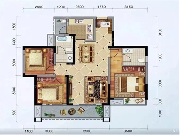 怡润茉莉庄园B3户型图-3室2厅2卫-106.83㎡