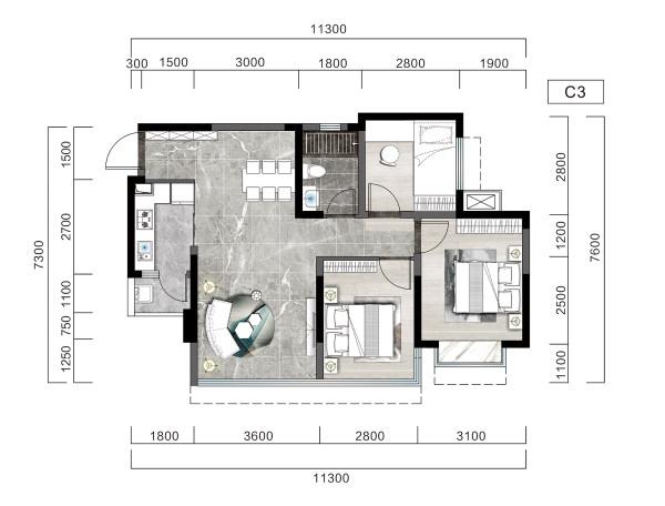 阳光天樾国际城-C3户型-3室2厅1卫-79㎡