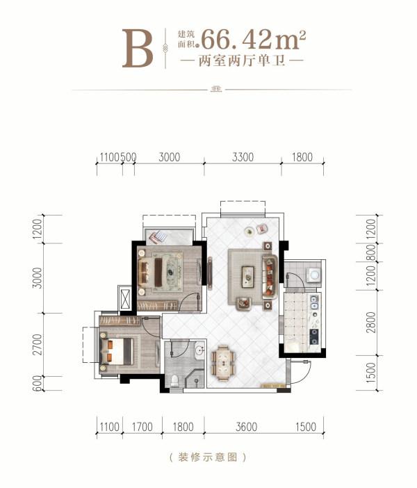 领丰一品学府-B-2室2厅1卫-66.42㎡
