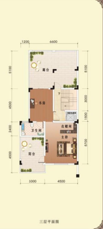 别墅三层平面结构示意图