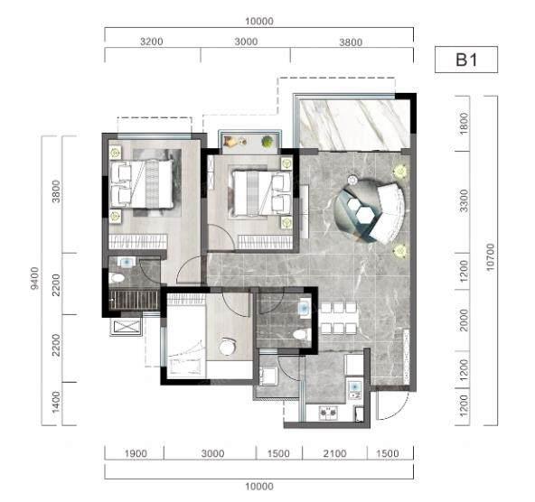 阳光玖著产权面积89平米的洋房户型