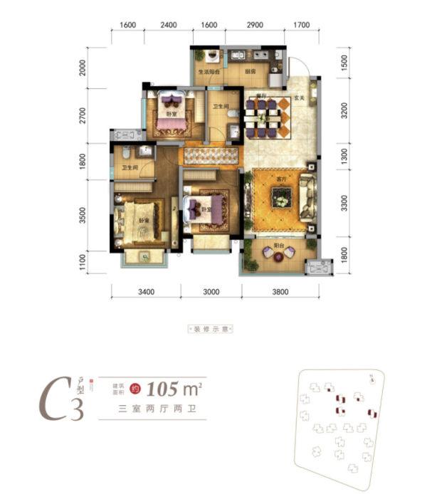 碧桂园青江府7月特价房 建面103.54㎡ 3栋 3303号