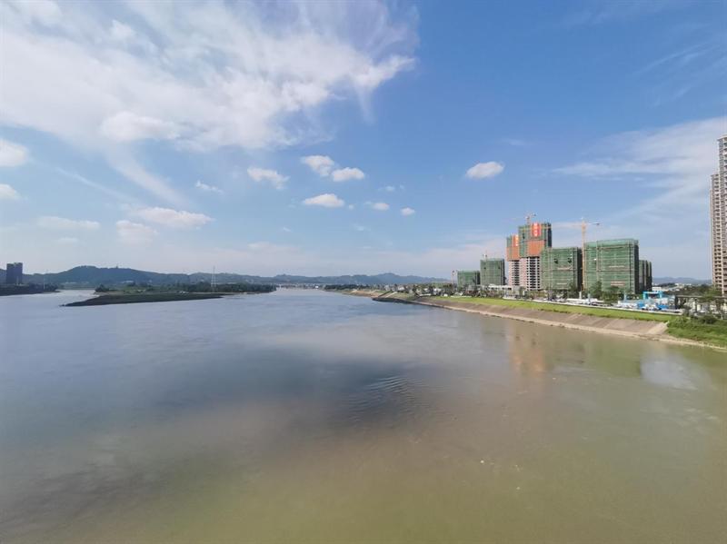乐山岷江东岸观江图